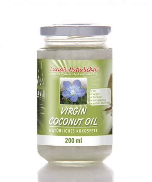 Lucia's BIO Virgin Coconut Oil (VCO), 200 ml Glas