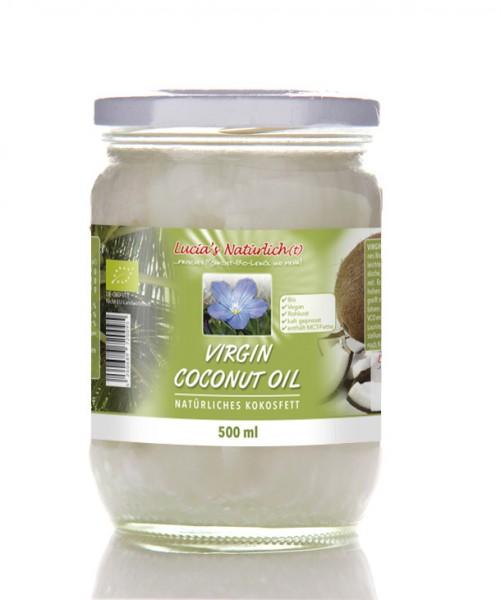 Lucia's BIO Virgin Coconut Oil (VCO), 500 ml Glas