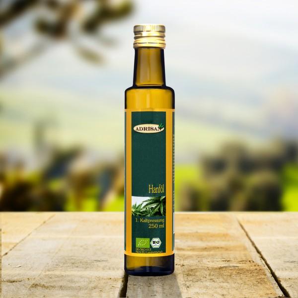 Bio Hanföl 1.Kaltpressung, 250 ml Glasflasche, DE-ÖKO-013