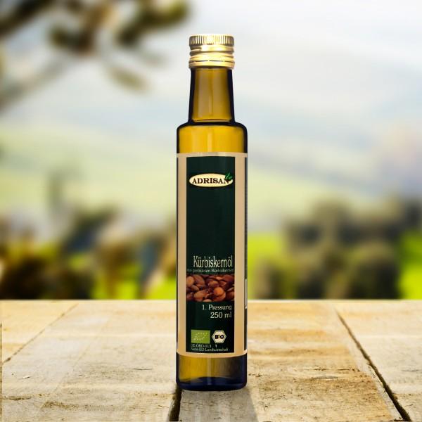 BIO Kürbiskernöl ungeröstet, 250ml Glasflasche, DE-ÖKO-013