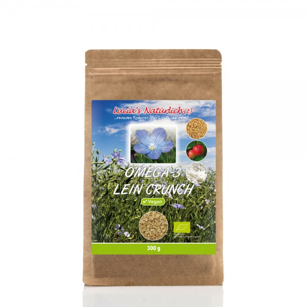 Lucia's BIO Omega Lein Crunch VEGAN, 300 g Nachfüllpackung