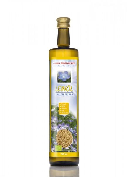 Lucia's frisches BIO Leinöl, 750 ml Glasflasche