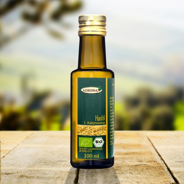 Bio Hanföl 1.Kaltpressung, 100 ml Glasflasche, DE-ÖKO-013