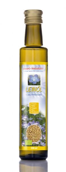 Lucia's frisches BIO Leinöl, 250 ml Glasflasche