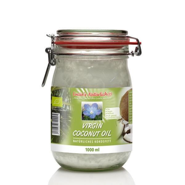 Lucia's BIO Virgin Coconut Oil (VCO), 1000 ml Glas