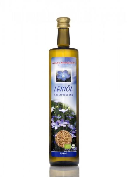 Lucia's frisches BIO Leinöl, 750 ml Glasflasche / DE-ÖKO-013