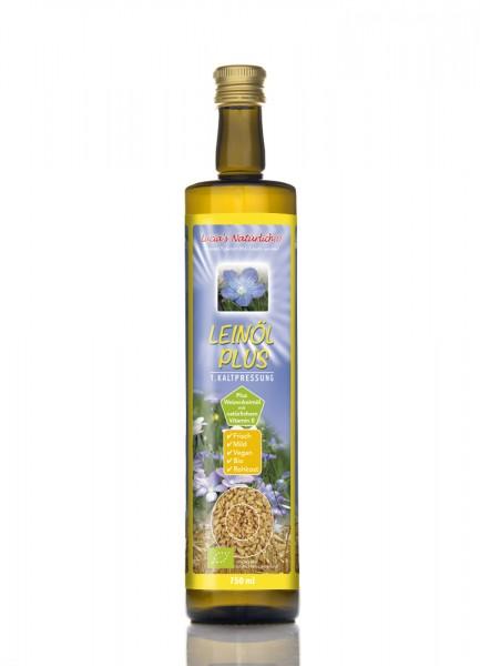 Lucia's frisches BIO Leinöl Plus mit frischem Weizenkeimöl mit natürlichem Vitamin E, 750ml